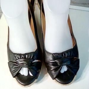 Nuture black rope heel wedge sling back size 9